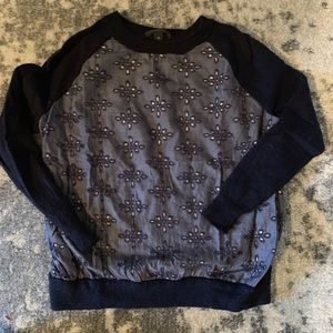 J Crew Navy Cut-Out Patterned Sweater SZ XS